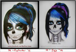 Before and After - Skull Lady by RedStar-Sama