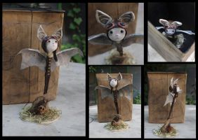 Steampunk bat-boy. Handmade paper clay figure. by Lauramei