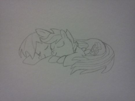 Scootaloo and Rainbow Dash sleeping by finalsight618