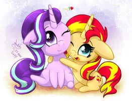 MLP FIM Chibi Starlight Glimmer And Sunset Shimmer by Joakaha