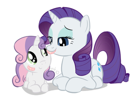 Rarity bandaging up Sweetie by empty-10