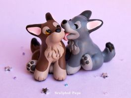 Wolf pups in love by SculptedPups