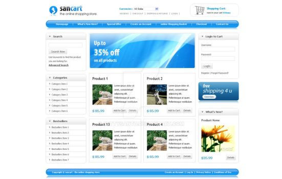 SANCART HTML SHOPPING CART TEM by settysantu
