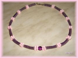 Purple and rose necklace by jasmin7
