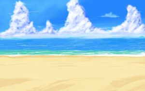 Big Anime Style Beach Background by wbd