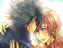 Art Trade: Noctis X Lightning by Rokeii