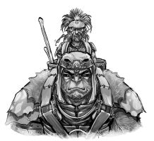 The halfling and a half-giant by Nezart