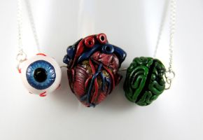 Eye Heart Brains Necklace 2 by NeverlandJewelry