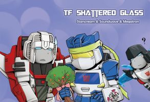 Shattered Glass Starscream, Soundwave, Megatron by Tyr44