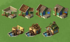 Game art - house, watermill by CL88