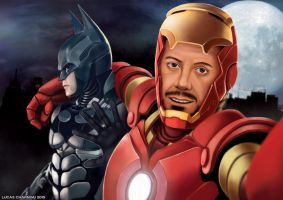 Iron Man and Batman Taking a Selfie by lucascharnyai