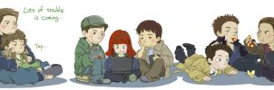 Wee Winchester family and angels by SilasSamle
