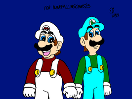 Fire Mario and Ice Luigi by Ilovefallingcows25