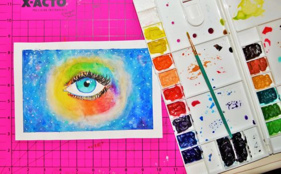 Eye Painting- Universe by SinoraViolet