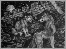 Wolves in the night by OmegaLioness