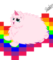 Flufflepuff riding a rainbow by Doomdrao