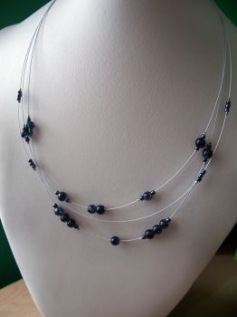 Sparkling blue beads necklace by Meeshah