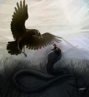 Crow and snake by Serpentwined