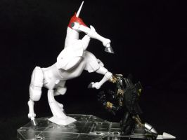 Decepticon Hatchet scaring a Gundams horse by forever-at-peace