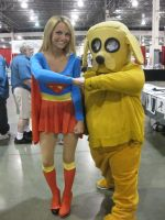 Super Girl 3 and Jake the Dog by LotusOfTheLeaf