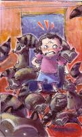 Raccoon Attack by basalt