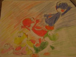 Yoshi and friends by spotnick97