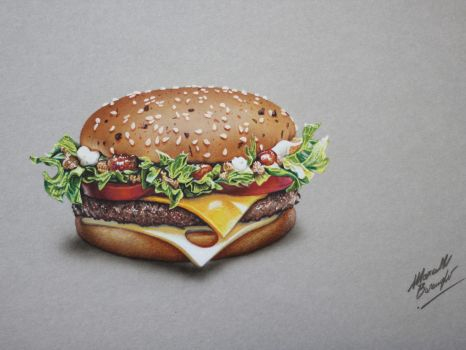 Burger 4 of 5 DRAWING by Marcello Barenghi by marcellobarenghi