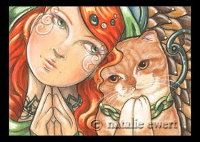 Praying Angel and Cat 156 by natamon