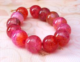 Red dragon veins agate beads by sancha310sp