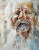 Water color-old man-40x30cm by MOTAIDO