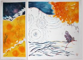 Calm Color Space Diptych by sashabrambleshadow