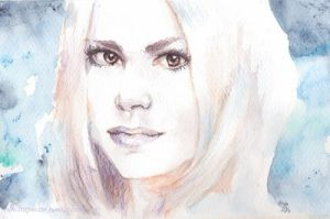 Rose - Doctor Who watercolor pencils portrait by rum-inspector