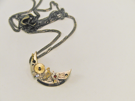 Steampunk Crescent Moon Necklace by GildedGears