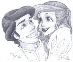 Sketch- Prince Eric and Ariel by love4me