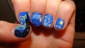 Starry Night Nails by theatreshoes
