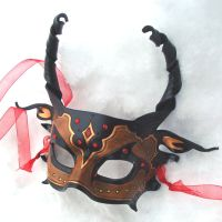 Red Jeweled Half Dragon Mask by merimask