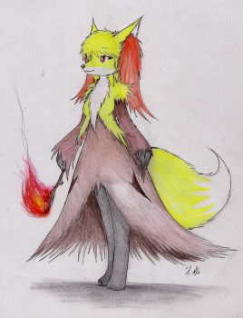 Anthro Delphox by Dragon-Wish