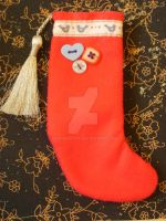 Hand sewn christmas stocking by moonwolf17