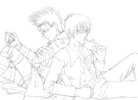Vash and Wolfwood, line-art by disgruntledpeony