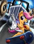 Scootaloo and Rumble's city escape by DLowell