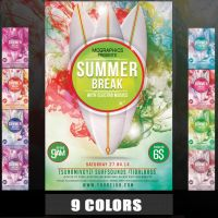 SUMMER BREAK WITH ELECTRO MUSICS FLYER TEMPLATE by MCerickson