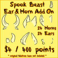 Spook Beast EARS AND HORNS ADD ON by Omega-Fluff