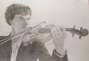 Sherlock and his violin by clareiow