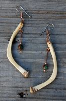 Bone 'n Turquoise Earrings by DreamingDragonDesign