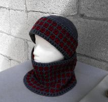 Fashionable interlocked crochet hat and scarf gray by YANKA-arts-n-crafts