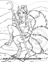 Sketch Commission for Anubis Kitsune by lady-cybercat