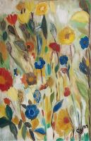 Field of Flowers in Oil. by CarolynYM