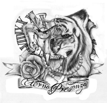 Furious Tiger Tattoo by GriffonGore