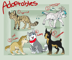 Mixed Adoptables #1 .:Closed:. by opaleyedwolf