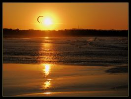Kite surfing at sunset 2 by wildplaces